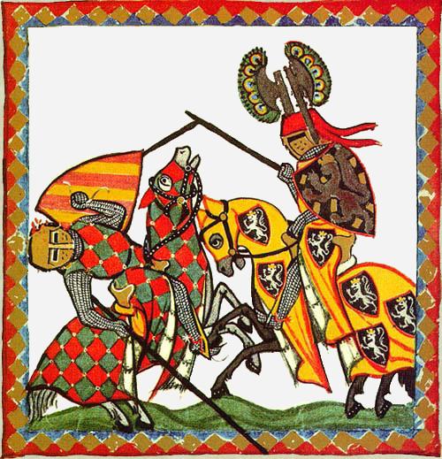 Scontro fra due cavalieri in un'illustrazione tratta dal Codex Manesse (XIV sec.)