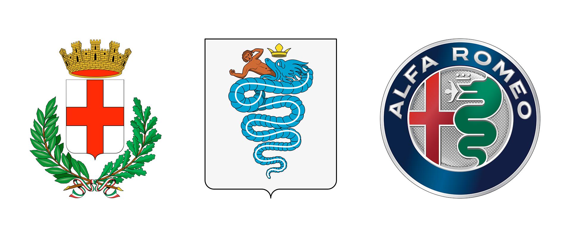 Gli stemmi dai quali deriva il logo della Alfa Romeo